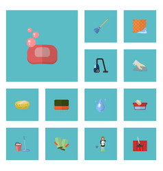 Flat icons foam sweeper sponge and other vector