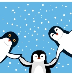 Funny penguins in flat design vector