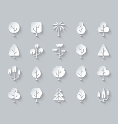 geometric trees simple paper cut icons set vector image