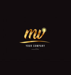 Gold alphabet letter mv m v logo combination icon vector