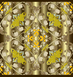 gold baroque seamless pattern ornamental drapery vector image
