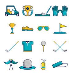 Golf icons set symbols cartoon style vector