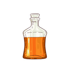 half of whiskey scotch glass bottle icon vector image