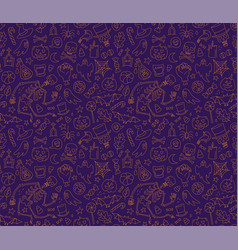 halloween seamless pattern with cute skeleton vector image