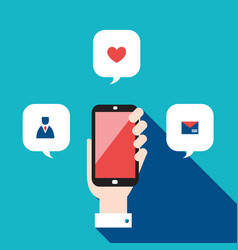 hand holding mobile phone with icons and speech vector image
