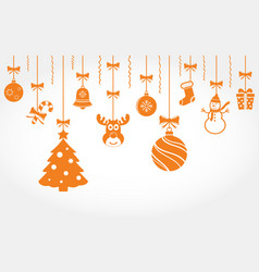 hanging christmas ornaments background vector image
