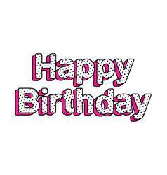 Happy birthday inscription in style lol doll vector