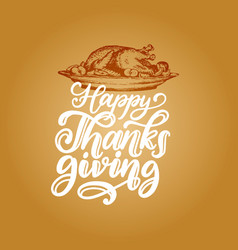 happy thanksgiving hand lettering on yellow vector image