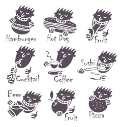 Head eating different dishes vector