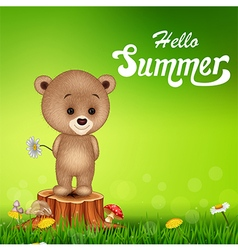 Hello summer background with little bear vector