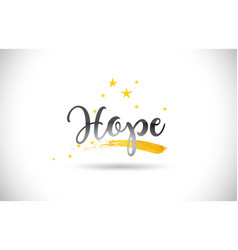 Hope word text with golden stars trail and vector