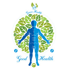 Human athlete surrounded green tree leaves and vector