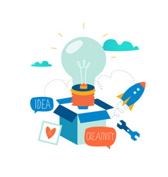 idea thinking outside the box vector image