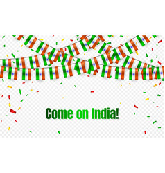 india garland flag with confetti on transparent vector image