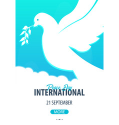 international peace day poster 21 september dove vector image