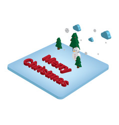 isometric 3d merry christmas and happy new year vector image