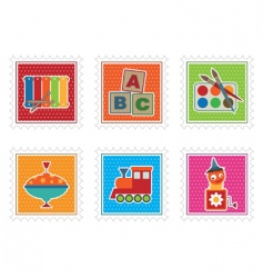 Kids toy stamps vector