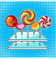 lollipops pop art vector image