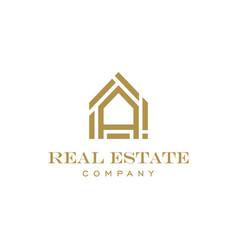 luxury letter a house for real estate logo design vector image