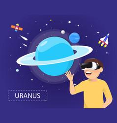 man wearing virtual reality glasses looking vector image