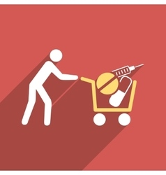 Medical Shopping Cart Flat Longshadow Square Icon vector