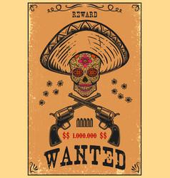 mexican sugar skull in sombrero with crossed vector image