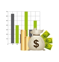 money with statistics isolated icon design vector image