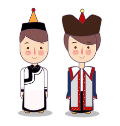 Mongolian boy and girl in national costume and hat vector