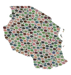 Mosaic map of tanzania of stones vector