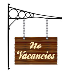 No vacancies hanging sign vector