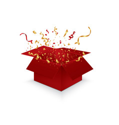 opened 3d realistic gift box and confetti vector image