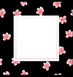 Peach blossom banner on black background vector