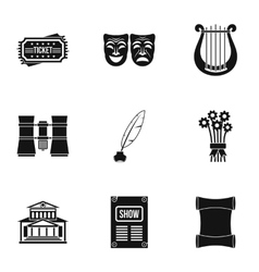 Performance icons set simple style vector