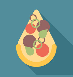 Pizza slice icon flat vector