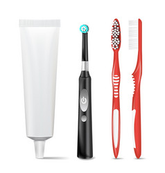 plastic electric toothbrush toothpaste tube vector image