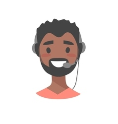 Portrait of happy smiling male customer support vector