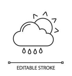 rain with sun linear icon vector image