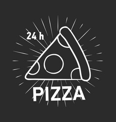 retro logotype with pepperoni pizza slice and vector image