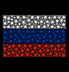 Russian flag mosaic of confetti star elements vector
