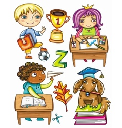 schoolchildren set 1 vector image