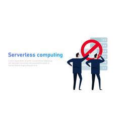 serverless technology it team select no server vector image