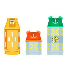 Set cartoon icons gas tanks danger vector