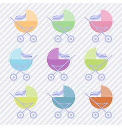 Set of baby carriages vector image