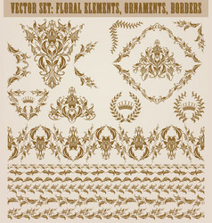 Set of damask ornaments vector