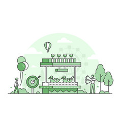 Shooting gallery - thin line design style vector