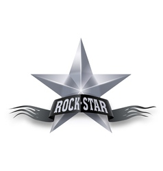Silver star with Rock Star banner vector