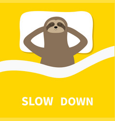sloth sleeping cant sleep going to bed concept vector image