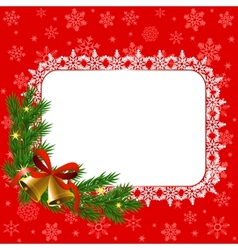 snowflake frame and bells vector image