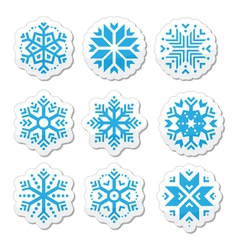 Snowflakes icon set on black and white background vector image