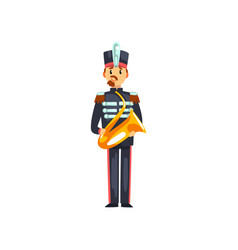 Soldier with trumpet member of army military band vector